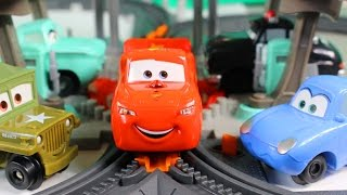Download Disney Pixar Cars Geo Trax Radiator Springs Mega Set With Lightning McQueen Sheriff And Sarge Video