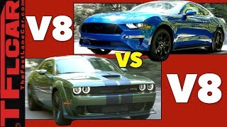 Download Fast vs Faster: Ford Mustang GT vs Challenger Hellcat Mashup Review Video