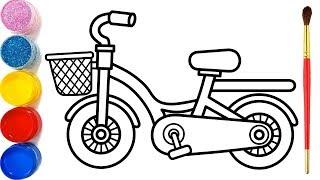 Download Vẽ xe đạp đơn giản và tô màu cho bé | Dạy bé vẽ | Dạy bé tô màu | Sepeda Halaman Mewarnai Video