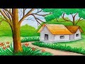 How to draw landscape with oil pastel step by step (very simple & easy)
