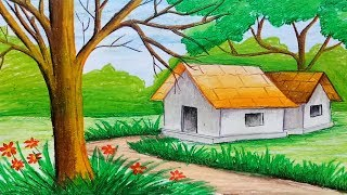 Download How to draw landscape with oil pastel step by step (very simple & easy) Video