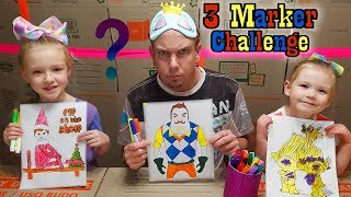Download 3 MARKER CHALLENGE!!! 3 & 5 Year Old vs Dad! Hello Neighbor, Elf on the Shelf, & Trolls!!! Video
