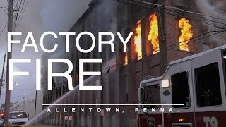 Download Old Factory destroyed in 4 alarm fire in Allentown, PA. Video