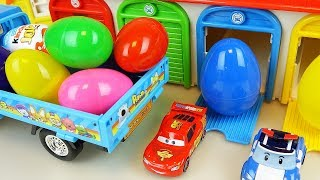 Download Truck car toy Surprise eggs and Cars and Robocar poli toys play Video