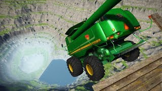 Download CRASH TESTING TRACTORS OFF GIANT CLIFF! Leap of Death! (BeamNG Drive Mods) Video
