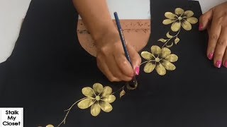 Download DIY Golden Fabric Painting | How to Do Gold Painting on Kurti/ Top/Dresses Video