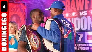 Download (INTENSE!!) Terence Crawford Julius Indongo FACE OFF; Bud not intimidated one bit by Indongos height Video