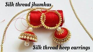 Download How To Make Silk Thread Jhumkas Hoop Style|Ring style silk Thread Jhumkas Video