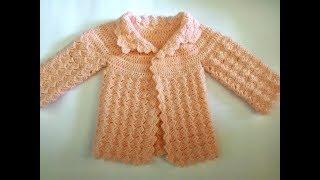 Download جاكيت كروشيه لطفله بطريقة الصدر الدائرى بالشرح المفصل crochet baby jacket Video