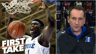 Download Coach K on Zion Williamson: 'most unique athlete I've coached at Duke' | First Take Video
