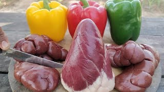 Download Heart and Kidney!! Simple Cow Kidney and Heart Cooking with Bell Pepper Video