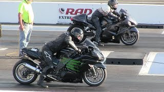 Download Kawasaki tries to bite Hayabusa-really fast bikes-1/4 mile drag race Video