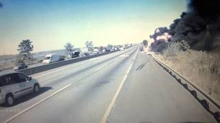 Download Tanker truck crash on N.J. Turnpike in Kearny Video
