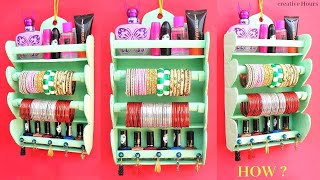 Download DIY: Bangle Holder making at home | Best out of waste | Easy Makeup organizer with Earring holder Video