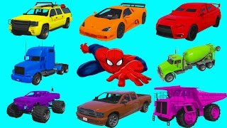 Download Learning Vehicles Colors with Spiderman. Car and Truck Compilation. Cartoon for Kids Video