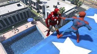 Download GTA 5 SPIDERMAN vs IRON MAN   Water Ragdolls Fails/Jumps vol.2 (Euphoria Physics Funny Moments) Video