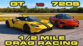 Download 1st New Ford GT down the 1/2 mile vs McLaren 720S - Drag Racing at Wannagofast Video