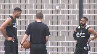 Download Tim Duncan joins Spurs practice on Thursday Video