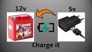 Download How to Charge 12volt Bike Battery with 5volt Mobile Phone Charger Video