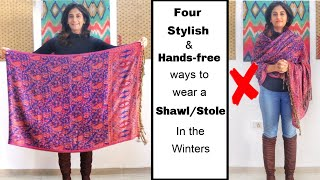 Download 4 Different Handsfree Ways to Wear Shawl/ Stole with Western Outfits | Different Ways to Wear Shawl Video