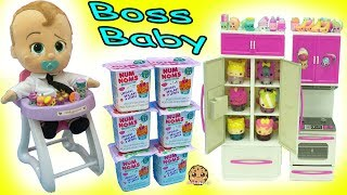 Download Feeding The Boss Baby In High Chair Surprise Blind Bags Shopkins + Num Noms Video