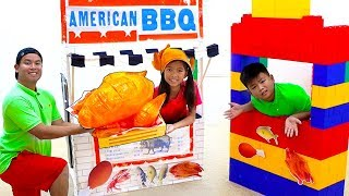 Download Wendy and Alex Pretend Play Cooking Giant BBQ Playset Toy Restaurant Cafe Video