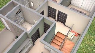 Download Planta 3D Duplex com três Quartos e Cozinha Americana Video