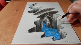 Download How to Draw Bridge - Drawing 3D Bridge - Trick Art Video