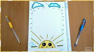 Download تزيين الدفاتر المدرسية من الداخل للبنات سهل خطوة بخطوة ، تسطير الكراسة على شكل شمس وسحاب،تزيين دفاتر Video