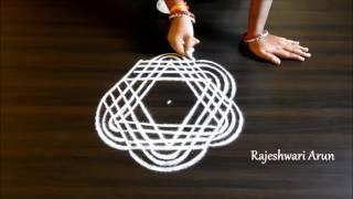 Download simple padi kolam designs || geetala muggulu with 5 dots || lines rangoli designs Video