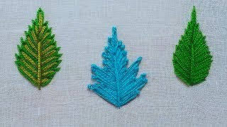 Download Different 3 type of lazy daisy leaf embroidery tutorial,Leaf embroidery for beginners Video