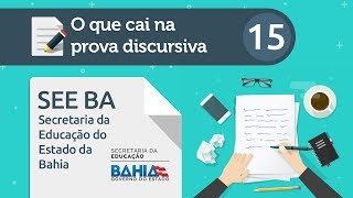 Download O que cai na prova discursiva 15 – SEE BA Video