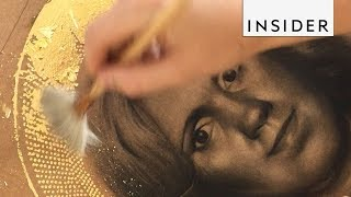 Download Artist Uses Gold Leaf in Her Portraits Video