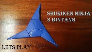Download Cara membuat origami bentuk shuriken 3 bintang Video