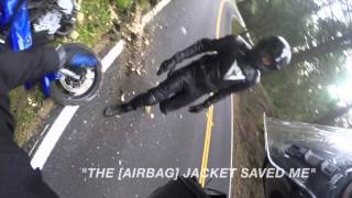 Download Motorcycle Crash with a Rider wearing Helite Airbag Protection Video