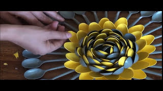 Download Plastic Spoons Centerpiece / Multicolored Plastic Spoons Wall Art - DIY Craft Video
