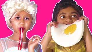 Download Gummy Food VS Real Food Challenge - Princess Has a Magic Gummys Machine! - Princesses In Real Life Video