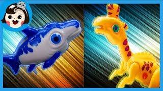 Download [A dda dda Toys] dinosaur Lambeosaurus VS Ophthalmosaurus, Dino mecard battle (for kids) Video