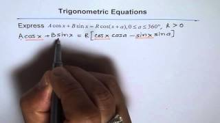 Download Simple Harmonic Equation Acosx + Bsinx = R cos(x + a) Video