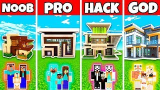 Download Minecraft: FAMILY CLASSIC MODERN MANSION BUILD CHALLENGE - NOOB vs PRO vs HACKER vs GOD in Minecraft Video