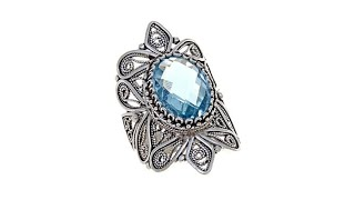 Download Ottoman Silver Jewelry 6ct Sky Blue Topaz Filigree Ring Video
