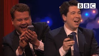 Download James Corden challenges Michael to play Send to All   The Michael McIntyre Chat Show - BBC Video