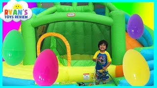 Download HUGE EGGS SURPRISE TOYS CHALLENGE Inflatable water slide Disney Cars Toys Paw Patrol Spiderman Video