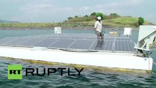 Download India: Drone footage shows India's largest floating solar power plant Video