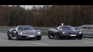 Download [4k] Koenigsegg Agera R vs Porsche 918 Spyder Weissach Package 50-320+ km/h Video