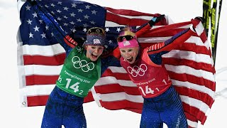 Download US cross-country skiers win historic gold medal Video