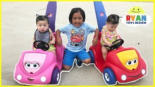 Download Twin Babies riding Step2 Push Around Buggy Car! Family Fun Kids Playtime with Ryan ToysReview Video