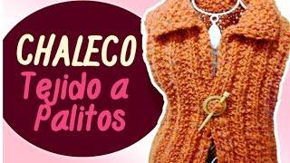 Download CHALECO TEJIDO A PALITOS en punto falso ingles y punto arroz / (Eng Sub)Vest tissue Sticks   Canela♥ Video