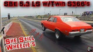 Download FIRST TIME RACING THE NEW TWIN TURBO LS COMBO | Junkyard SBE 5.3 LS Nova w/Twin S366 Turbos Video
