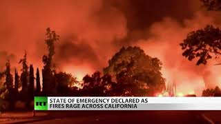 Download California Fires Double in Size, State of Emergency Declared Video